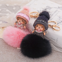 Fox fur ball Crystal Monchhichi key chain with hat