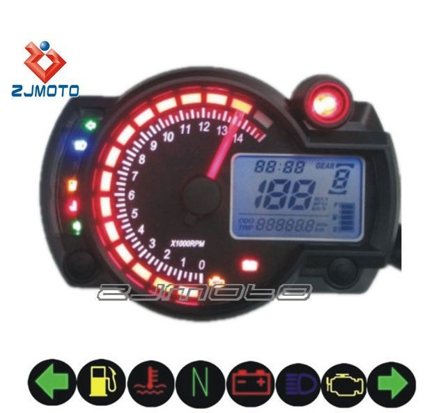 Universal Motorcycle Meter Tachometer Blue LED digit digital Speedometer Electronic Export Hot sell ZJMOTO