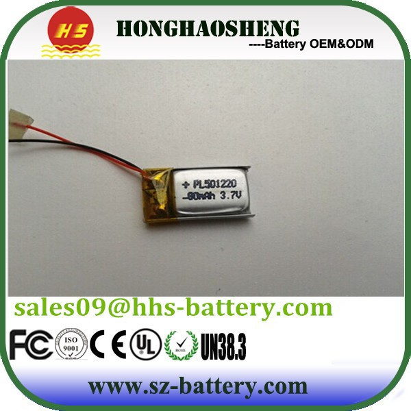 brand new 501220 3.7v 80mah lithium polymer battery 501220 lipo battery 501220 rechargeable lipo for earphone bluetooth