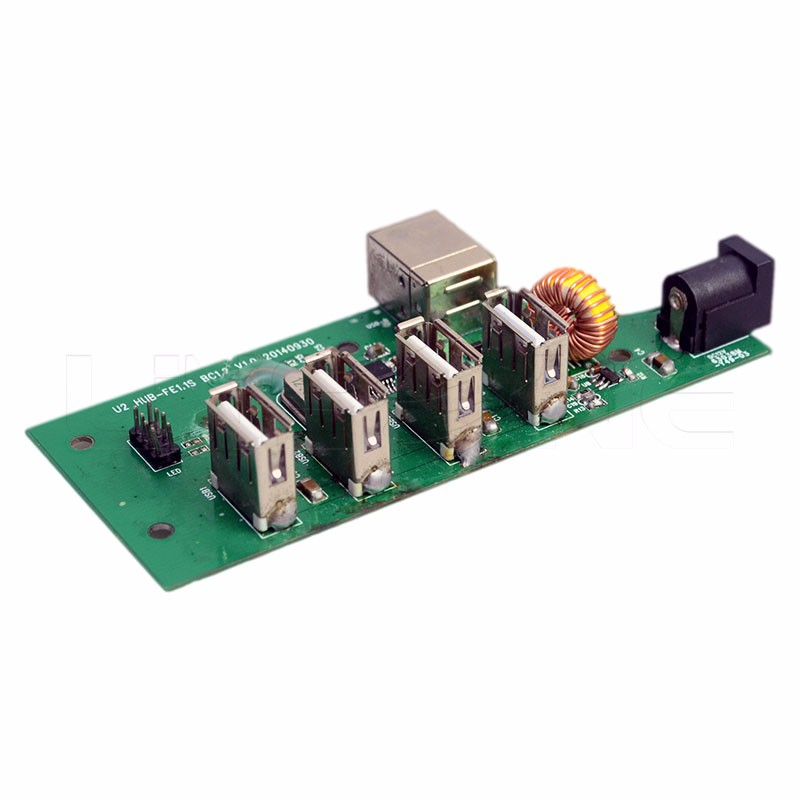 Linsone customized 4 port usb 2.0 driver hub board for data sync and charge