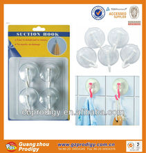 plastic reusable high quality round small suction hook/suction cup clips