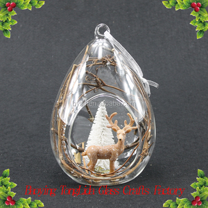 Round open glass ball globe with deer ornaments