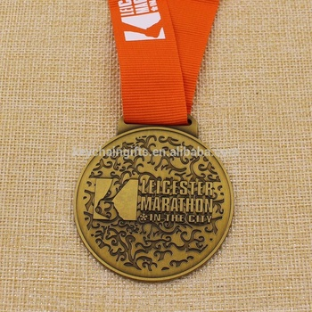 Custom cheap finisher zinc alloy antique gold marathon medal with ribbon