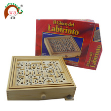 Kid wooden maze or labyrinth game puzzle toy with iron balls