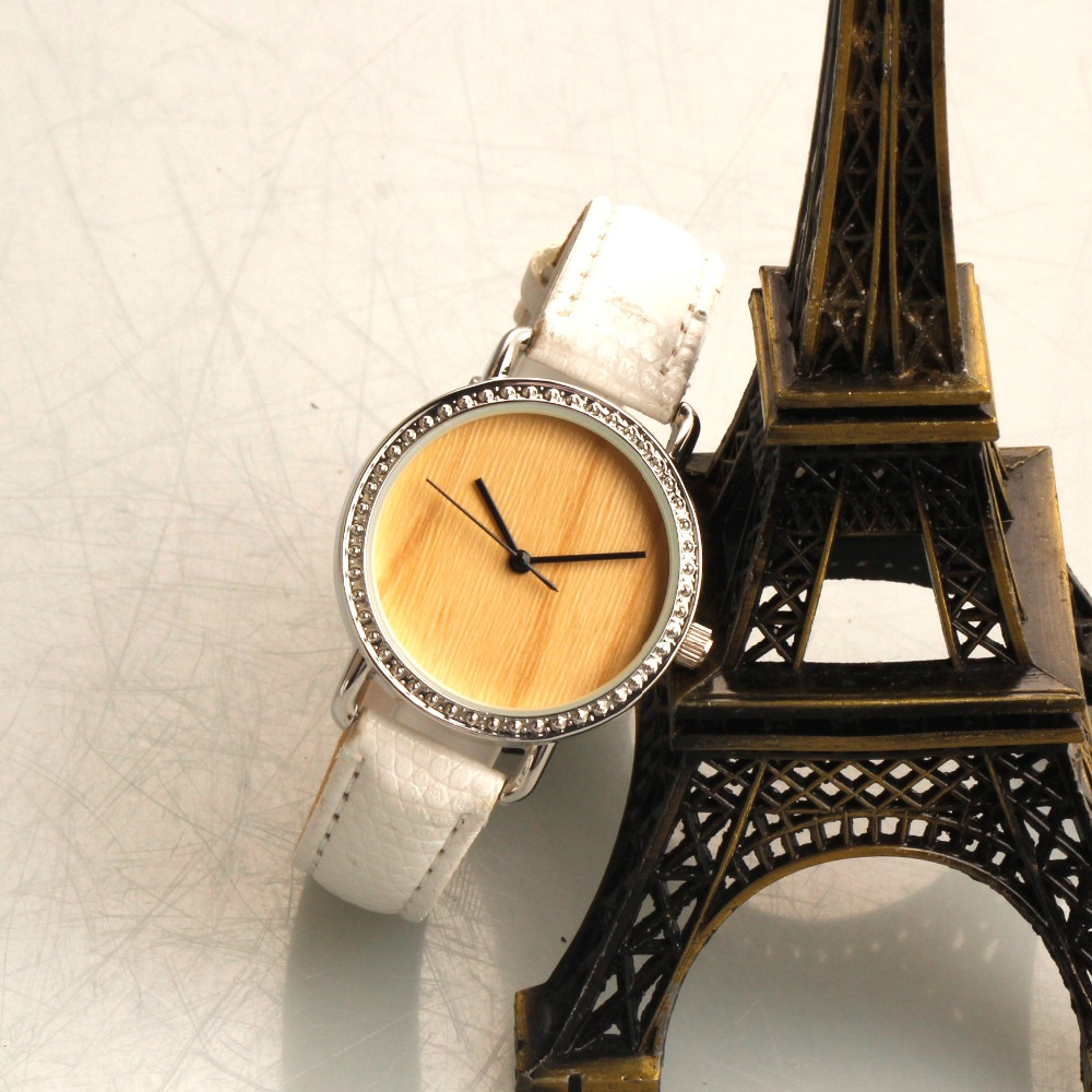 simple design leahter band wood grain watches, custom made watches for women
