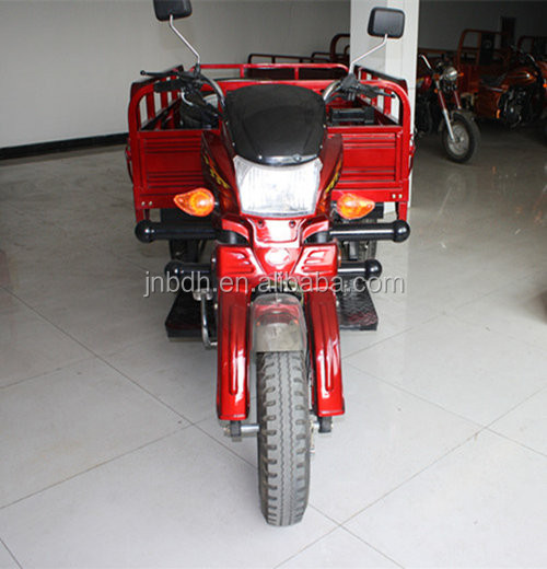 Chinese famous tricycle factory good engine red three wheel large cargo motorcycle