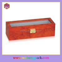 Long Top Glass Watch Box Wood & 6cs Locking Watch Gift Box For Women