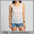 Wholesale Summer Women Comfortable White Vest T-shirt Round Neck Sleeveless Transparent Running Tank Top