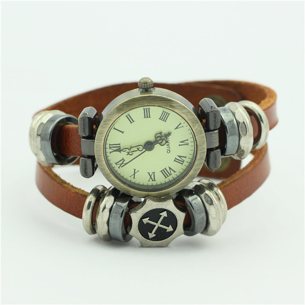 latest fashion leather wrap strap lady watch