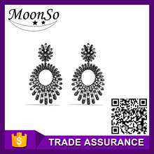 hot selling ! black vintage design 925 thailand silver drop dangle earring for women girls jewelry KE2120S MOONSO