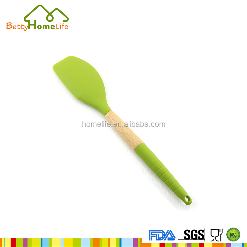 Fashion wooden handle silicone butter knife kitchen utensil