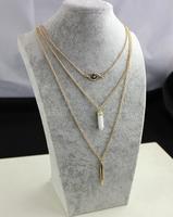 Multilayer fashion necklace white glass mosic eyes necklace