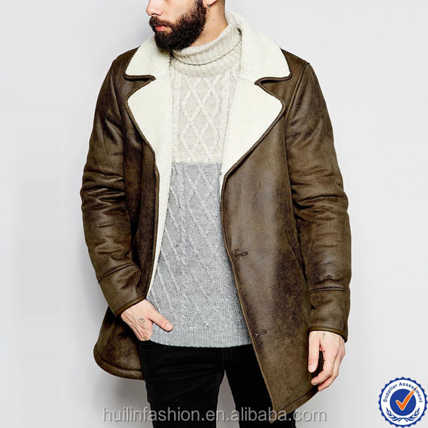 new fashion wholesale mens clothing shearling lapels winter long parka mens coats