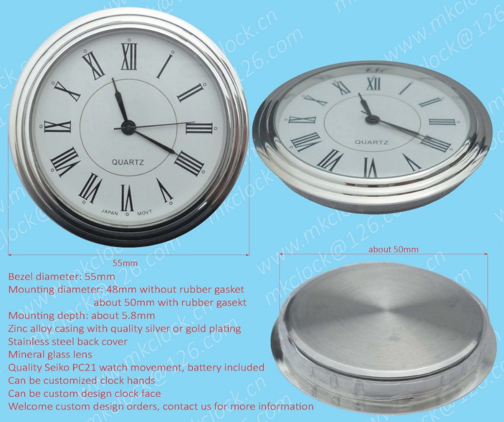 55mm silver plating zinc alloy metal casing clock insert clock fit-up movement watch insert watch fit-up quartz clock roman dial