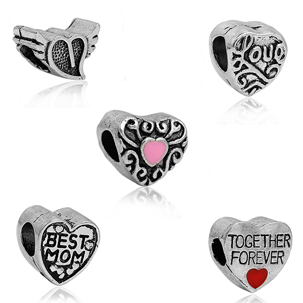 Heart Mixed 5 Styles Antique Silver Message Carved Zinc Based Alloy European Style Large Hole Charm Beads