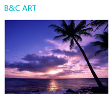 Simple beautiful color sun shine oil natural scenery coconut tree art painting