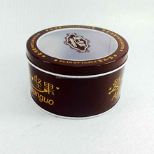 Round metal tin cans with clear lid