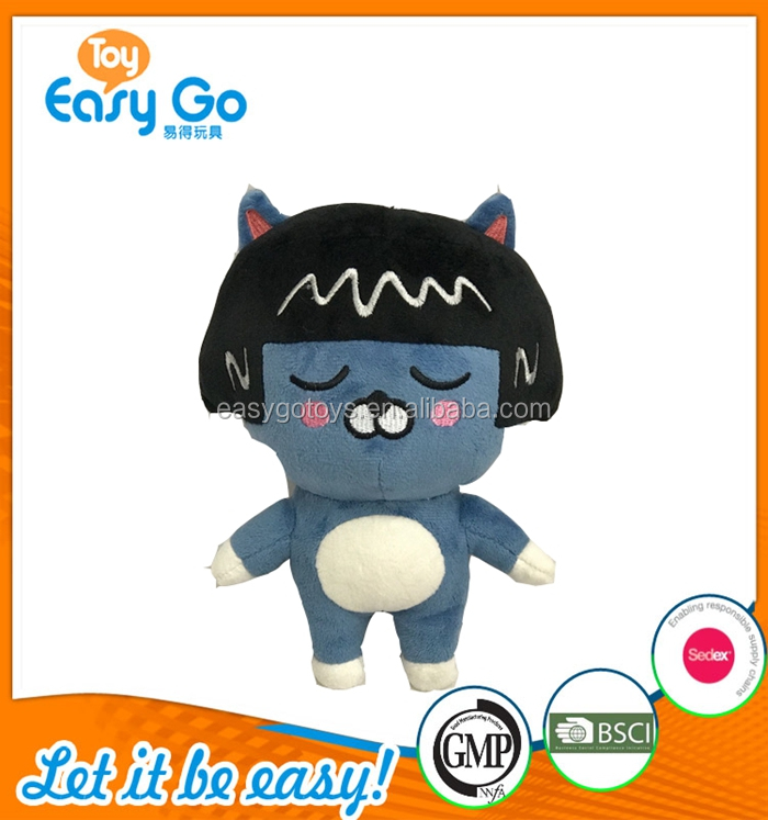Plush gifts of the blue cat wearing dark hat