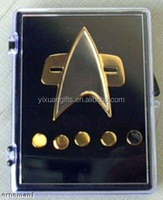 Voyager Star Trek Communicator Badge + Rank Pin Set 6 Piece Metal