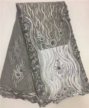 Grey beaded lace fabric embroidery designs for wedding dress XZ758B