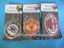 long lasting car air fresheners with football club logo printed black ice scent