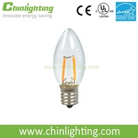 led Candle lamp 0.5w 1w Dimmable led filament bulb UL E12 E26 c9 led candle bulb