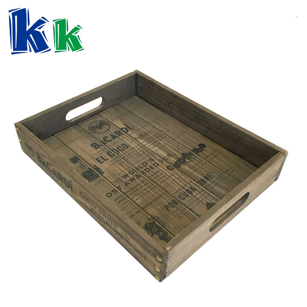 Bar use wooden grey tray with handle for food serving tray