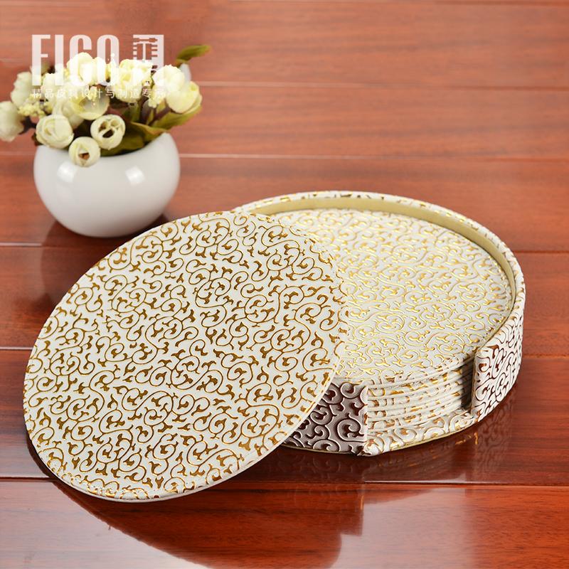 Round Leather Table Mat Cup Coaster Dinning dinner desk pad