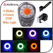 Moon Light 4Modes Multi Color Ring COB LED Decorative Bike Rear Light Waterproof USB rechargeable Brightness Bicycle Taillight