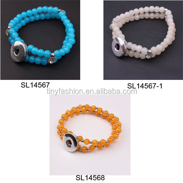 Yiwu Jewelry Factory Trendy Stacking Multicolor Beads Crystal Bracelet Snap On Buttons DIY Bracelet Ginger Snap Jewelry