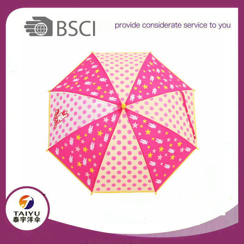 Print POE umbrella for rain children Safe Structure kid umbrella