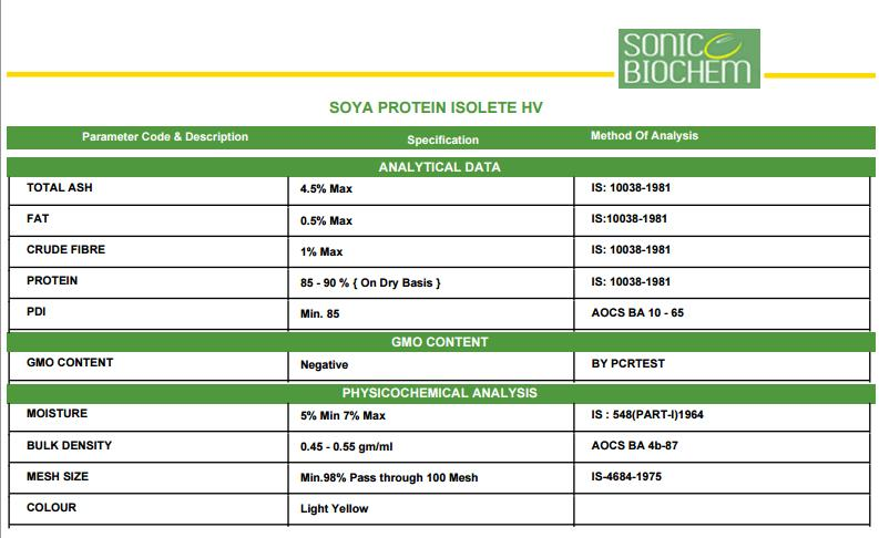 High Quality SOYA PROTEIN ISOLATE HV
