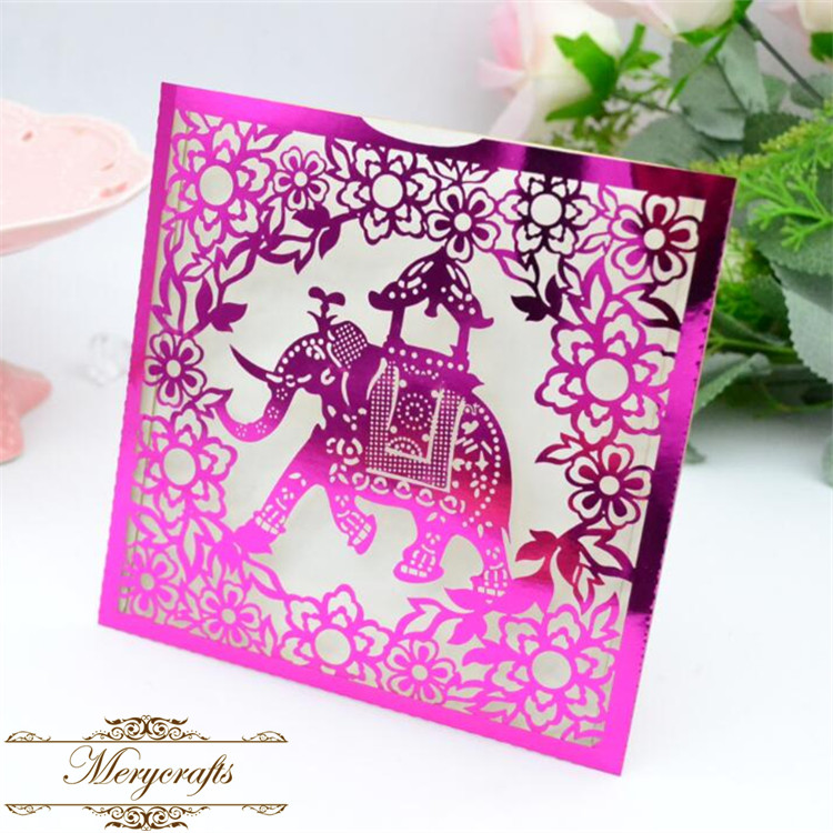 New arrival pocket style laser cut elephant baby shower party Thai wedding invitation card