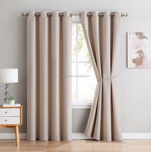 Premium Grommet Blackout Window Curtain Panel With Tieback - Solid Thermal Insulated Draperies - 54 Inch Wide - 84 Inch Long