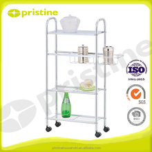 Home Furniture Wholesale chrome metal wire 4 tier kitchen trolley