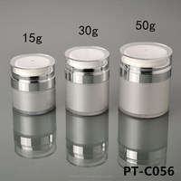 Cosmetic packaging 15g 30g 50g white silver acrylic airless serum jar