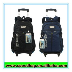 600D polyester trolley backpack on wheels, hot selling travel trolley bag with laptop pocket