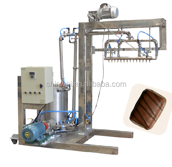 Chocolate decorator machine for making single-loop pattern on surfaces of biscuit and chocolate