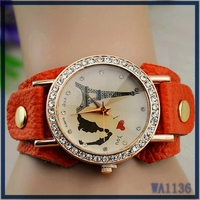 Factory price new 2016 trendy vintage design fashion beautiful girls big strap leather eiffel tower charming watch
