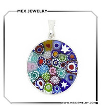 China Factory Directly silver Italian murano glass round shape Pendant