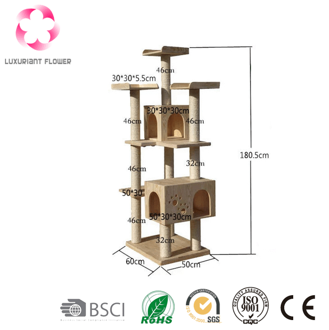 Cat climbing frame tree house luxury cat tower with soft platform