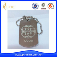 custom made metal dog tag with printed logo and ball chain for army