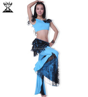 Wuchieal Blue belly dance clothes for girl dancers practice (QC2173)