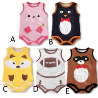 Breathable high quality wholesale sleeveless cute printed animal custom baby romper