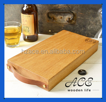Wooden Chopping Board Soild Oak Butcher Cutting Board with Leather Handle Hot Stamp Logo Custom Design OEM Cutting Board Kitchen