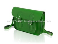 ANU London Satchel 11.5 inch - Traditional British Satchel Bags *Handmade in England* - Green