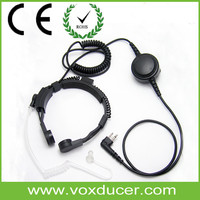 Earphone with Acoustic Tube Throat Activated Microphone with 3.5mm Jack PTT Throat Mic