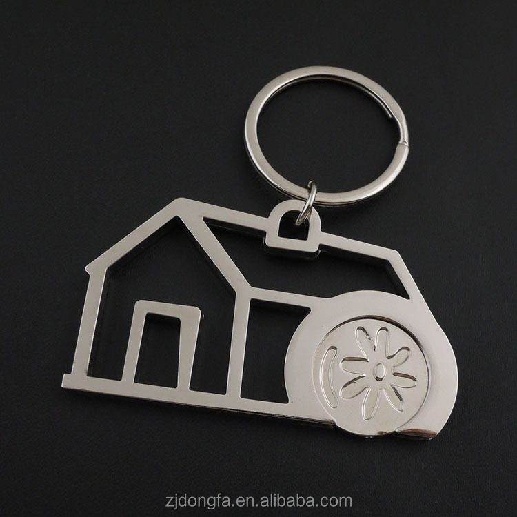 Trolley Coin Holder Key Chain Car shaped Hollow metal keychain for coins