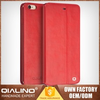 QIALINO Highest Quality Custom Print Handmade Leather Phone Cover For Iphone 6