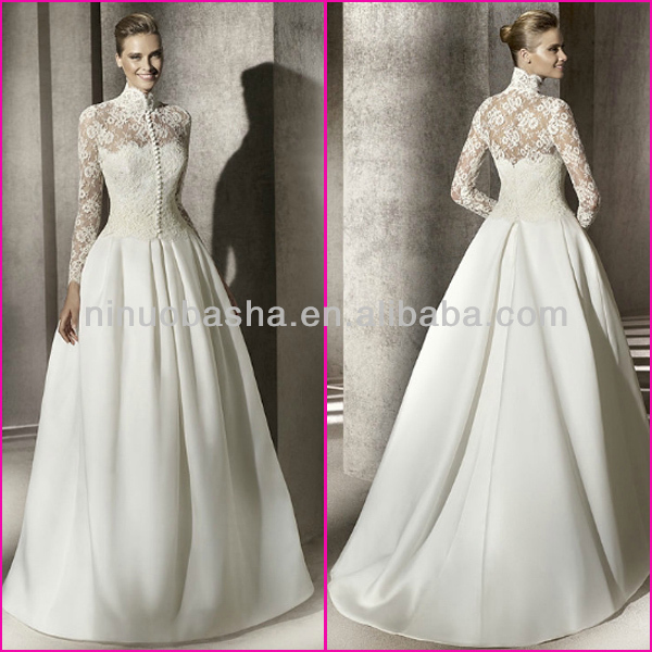 Ivory White Lace Top Bodice Satin Skirt Ball Gown Bridal Dresses 2014 High Neck Long Sleeve Vintage Wedding Gowns NB0136